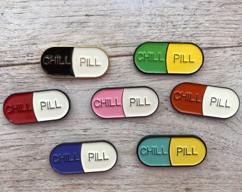 Seven Colours | Enamel Chill Pill Pin / Lapel Pin | Gift Nurse, Pharmacy, Doctor, Medical || Stocking Filler Gift | Lapel Pin, Badge |