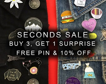 Seconds Sale - Enamel Pins, Lapel Pins (Discounted Pins)