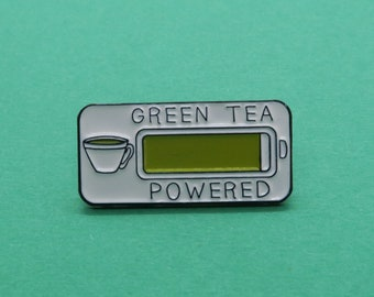 Green Tea Powered Enamel Pin | Plant Based Gift