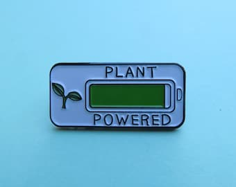 Plant Powered Enamel Pin | Vegan Vegetarian | Plant Based Gift