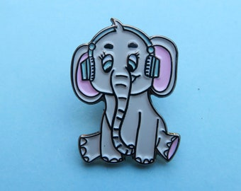 Cute Elephant Listening to Headphones Pin - Enamel Pin, Lapel Pin Badge