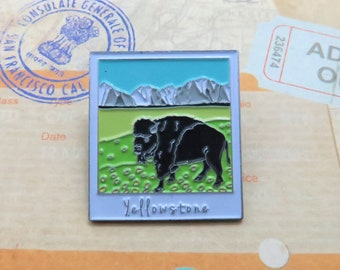 Yellowstone Park Enamel Pin | USA Inspired | American Road Trip | Buffalo |  Gift | Lapel Pin, Badge |Picture Frame