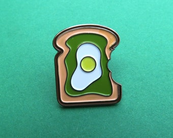 Egg And Avocado on Toast with Bite Pin - Enamel Pin, Lapel Pin. Funny Healthy Food Pin