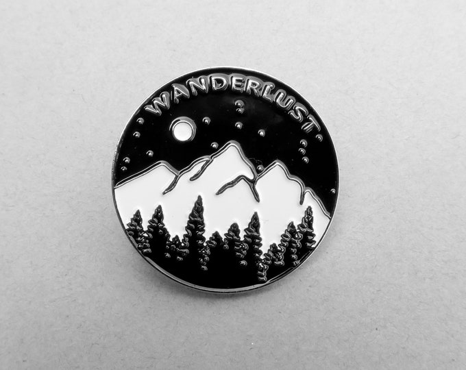 Featured listing image: Wanderlust Enamel Pin: Mountains, Trees and Moon - Travel Brooch Badge