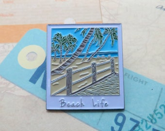 Beach Life Photograph Enamel Pin | USA Inspired | American Road Trip | Buffalo | Stocking Filler Gift | Lapel Pin, Badge |Picture Frame