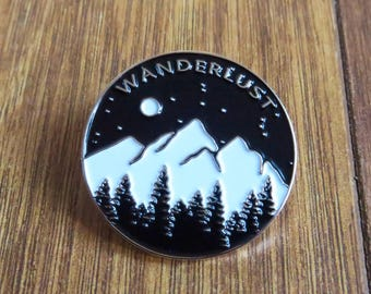 Wanderlust Enamel Pin: Mountains, Trees and Moon - Travel Brooch Badge