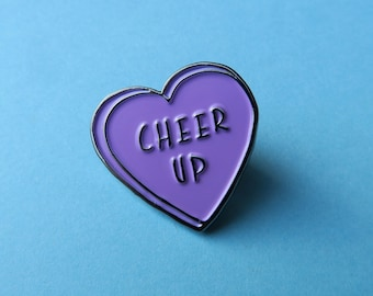 Cheer Up Heart Pin - Enamel Pin, Lapel Pin.