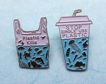 PRE-ORDER Charity Pin | Set of 2 Pins | Stop Single Use Plastic + Plastic Kills Enamel Pin | Environment Marine, Sea Life