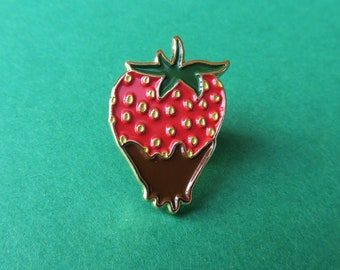 Chocolate Strawberry Pin -  Fruit Enamel / Lapel Pin, Brooch, Badge