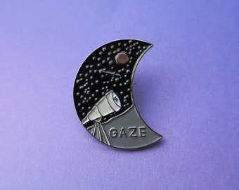 Star Gazing Enamel Pin | Stars, Telescope, Moon | Astrology Badge