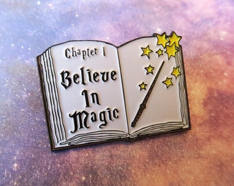 Believe in Magic Spellbook Enamel Pin | Magician Wizard Fantasy |