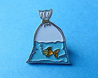 Goldfish in Bag Pin - Enamel Pin, Lapel Pin