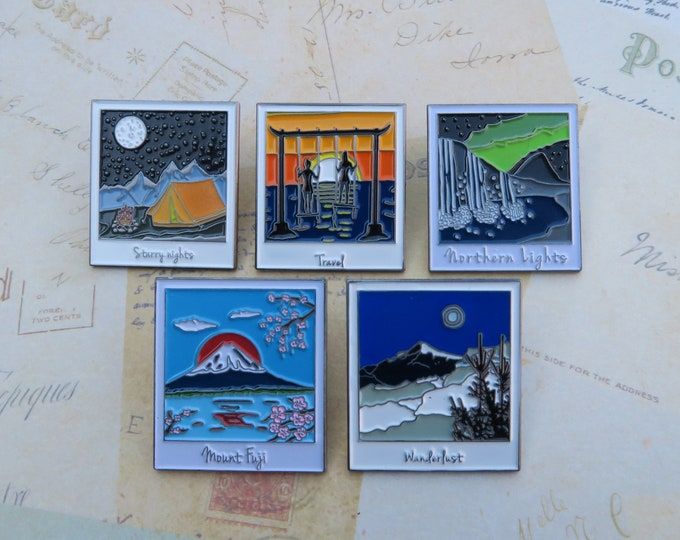 Featured listing image: Polaroid Enamel Pins Set of 3 or 5 | Wanderlust Travel | Mountains, Ocean, Camping || Stocking Filler Gift | Lapel Pin, Badge |