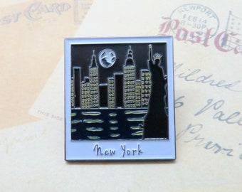 New York Skyline at Night  | USA Inspired | American Road Trip | Statue of Liberty |  Gift | Lapel Pin, Badge |Picture Frame