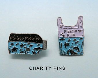 Charity Pin | Set of 2 Pins | Plastic Pollutes + Plastic Kills Enamel Pin | Environment Marine, Sea Life
