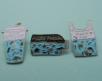Charity Pin | Set of 3 Pins | Plastic Pollutes + Plastic Kills Enamel Pin | Environment Marine, Sea Life