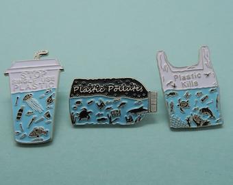 Charity Pin   Set of 3 Pins   Plastic Pollutes + Plastic Kills Enamel Pin   Environment Marine, Sea Life