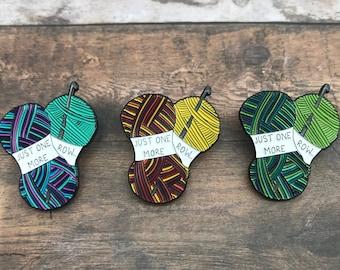 "Crochet Enamel Pin | Crochet, Yarn ""Just One More Row"" Badge"