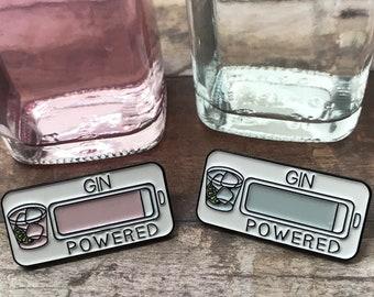 Gin & Pink Gin Powered Enamel Pin | Lapel Pin, Badge |