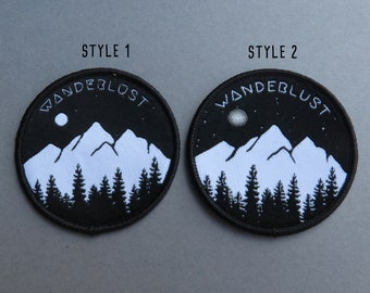 Wanderlust Patch (Two Styles) | Mountains, Trees and Moon | Iron on, Sew On | Travel, Explore |