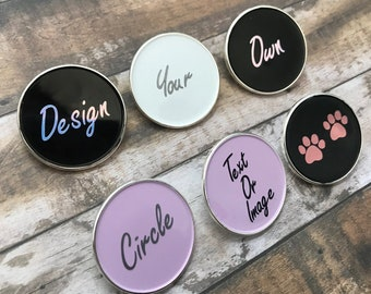 Personalised Pick Your Text/Shape Circle Enamel Pin | Customised Pin Badge |