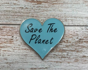 Save The Planet Love Heart Enamel Pin | Environment, Climate Change Pin Badge