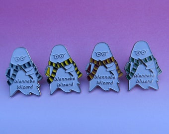 Wannabe Wizard Ghost with Scarf Enamel Pin | Four Variations |