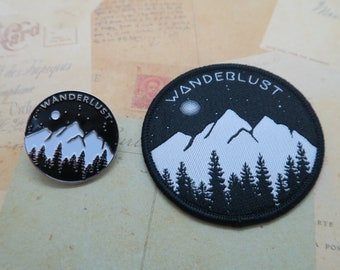 Set of Wanderlust Enamel Pin and Patch - Mountains, Trees and Moon - Iron on, Sew On. Brooch, Badge