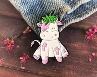 Strawberry Cow Enamel Pin   Gift   Lapel Pin, Badge  