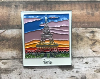 Paris, Eiffel Tower Polaroid Enamel Pin | Travel, Wanderlust, France || Stocking Filler Gift | Lapel Pin, Badge |
