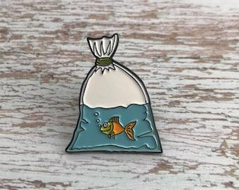 Goldfish in Bag Enamel Pin | Lapel Pin, Badge |
