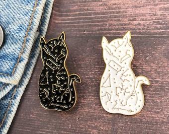 Celestial Star Constellation Cat Enamel Pin | Lapel Pin, Badge