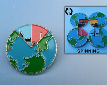 Spinner Travel Earth Enamel Pin | Wanderlust, Explore, Adventure | Spinning |Stocking Filler Gift | Lapel Pin, Badge |