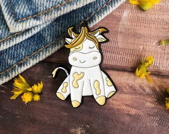 Banana Cow Enamel Pin | Gift | Lapel Pin, Badge |