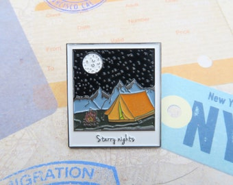 Polaroid Enamel Pin | Wanderlust Travel | Camping, Starry Night (Glow in Dark Tent)