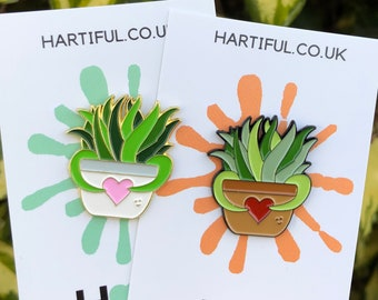 Plant Pot with Heart Enamel Pin| Gift | Lapel Pin, Badge |