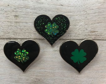 Good Luck, Four Leaf Clover Heart Enamel Pin | Pin Badge