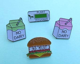 Set of 3 Vegan, Vegetarian Enamel Pins | No Meat, No Dairy, Plant Powered |