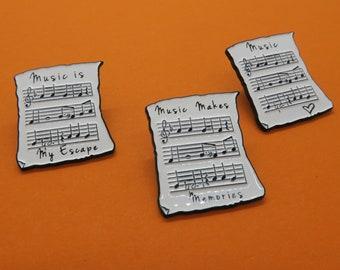 Music Sheet Enamel Pin | Music, Heart, Musician | Three Variations