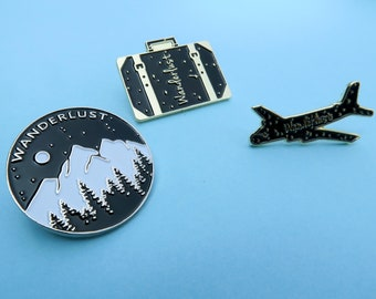 Set of Three Wanderlust Pins- Mountains, Travel, Luggage, Airplane Enamel Pin Brooch Plane | Stocking Filler Gift | Lapel Pin, Badge |