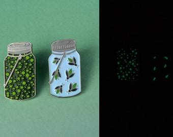 Two Styles  | Glow in the Dark Fireflies Jar Pin |  Enamel Pin, Lapel Pin. Cute Gift Badge| Stocking Filler Gift | Lapel Pin, Badge |