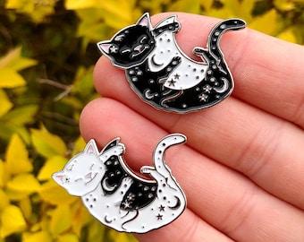 Cat Hugging Moon Enamel Pin | Lapel Pin, Badge