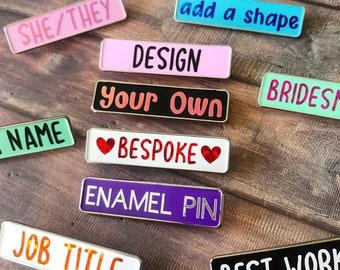 Personalised Design Your Rectangle Enamel Pin   Customised Pin Badge   Bespoke, Resined
