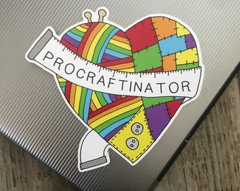 Eco-Friendly Knitting/Sewing Procraftinator Sticker | Laptop Sticker