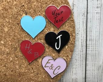 Personalised Initials Love Heart Enamel Pin | Customised Pin Badge
