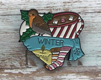 Winter Heart Enamel Pin | Hot Chocolate, Robin, Snow, Ice, Socks, Candle Badge | Stocking Filler Gift | Lapel Pin, Badge |