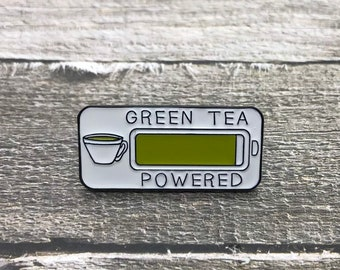 Green Tea Powered Enamel Pin | Plant Based Gift| Stocking Filler Gift | Lapel Pin, Badge |