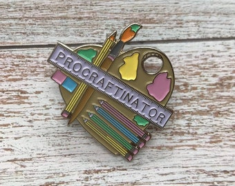 Procraftinator Enamel Pin | Artist, Illustrator, Painter | Stocking Filler Gift | Lapel Pin, Badge |