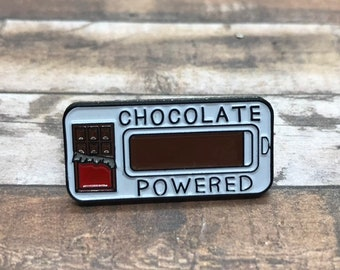 Chocolate Powered Enamel Pin | Chocolate Lover Gift |  Gift | Lapel Pin, Badge |