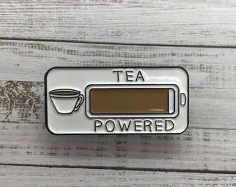 Tea Powered Enamel Pin| Stocking Filler Gift | Lapel Pin, Badge |